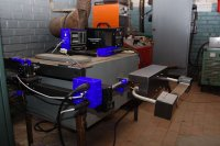 Real process arc welding trainer for training and upgrading of professional skills with access control testing